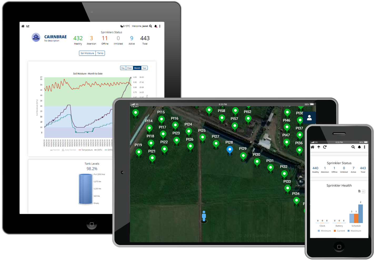 Two tablets and one iphone displaying cloud-based irrigation control