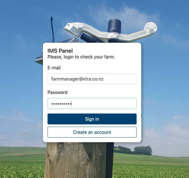 IMS log in screen